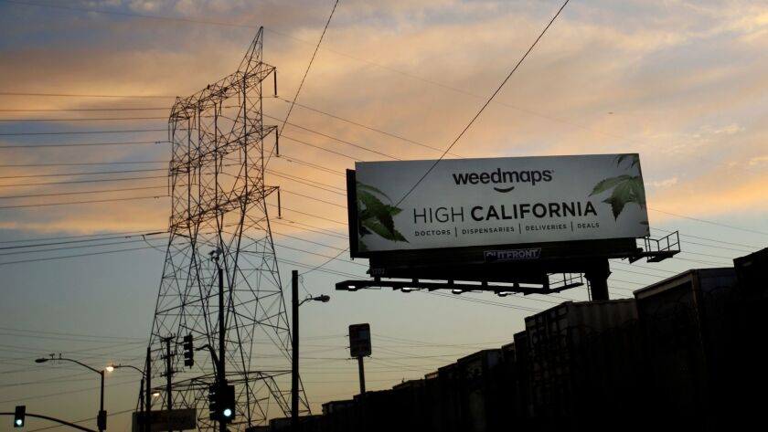 A billboard advertising marijuana products near Maywood. Some residents in the small city are against marijuana dispensaries in the city.