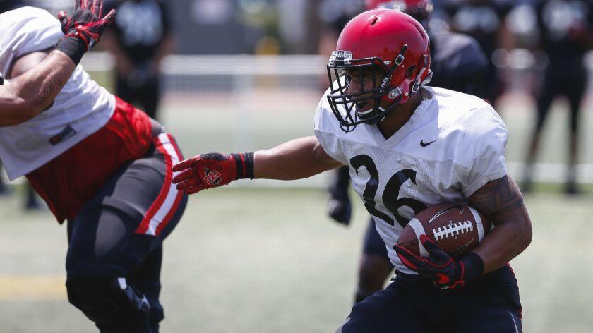 San Diego State redshirt freshman Kaegun Williams is among four freshmen competing for SDSU's backup running back spot.