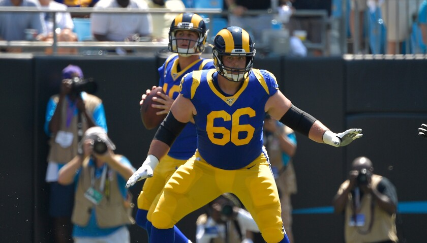 Rams offensive lineman Austin Blythe protects quarterback Jared Goff.