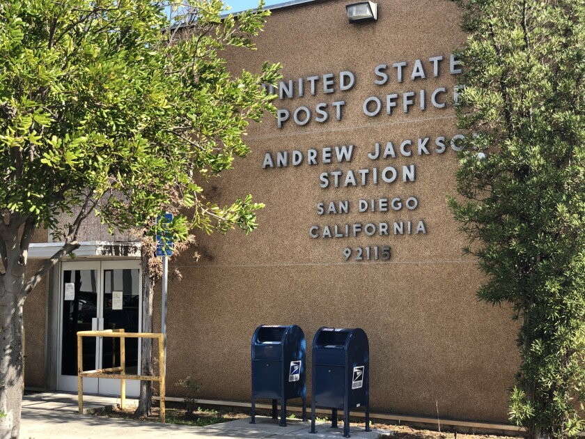 The entrance to the Andrew Jackson Station of the U.S. Post Office