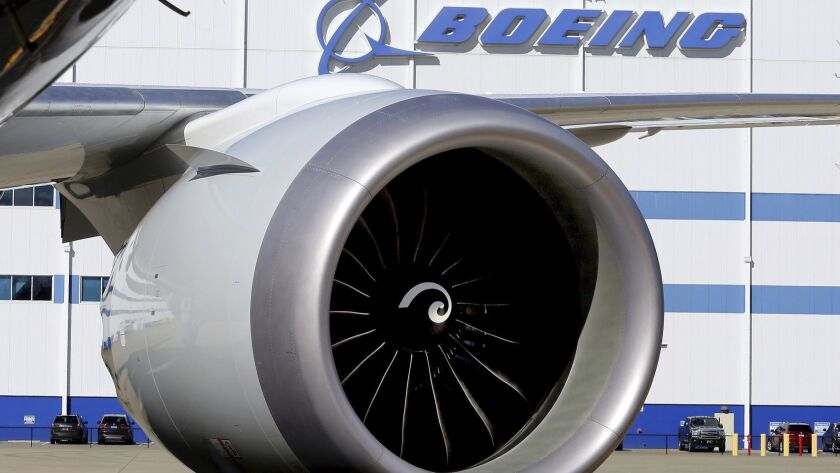 An engine from a 787 Dreamliner at Boeing's North Charleston, S.C., factory in 2016. Orders to U.S. factories for big-ticket manufactured goods fell in October, led by a huge decline in commercial and military aircraft.