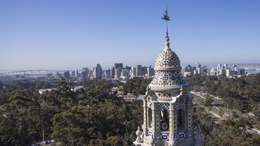 Aerial view from Balboa Park and California Tower.