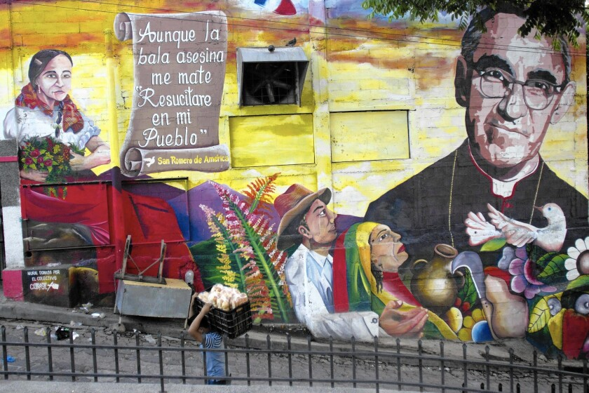 A mural of slain Archbishop Oscar Romero in Panchimalco, El Salvador. Romero will be beatified Saturday, 35 years after his assassination.