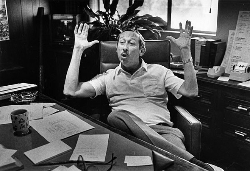 Roy Edward Disney, seen in his Burbank office in 1985, was the billionaire nephew of entertainment icon Walt Disney. Roy E. Disney so closely resembled his uncle's physical appearance that when he made outings to Disney theme parks or was out promoting the company's animated films, people in public would ask him if he was Walt Disney's brother.