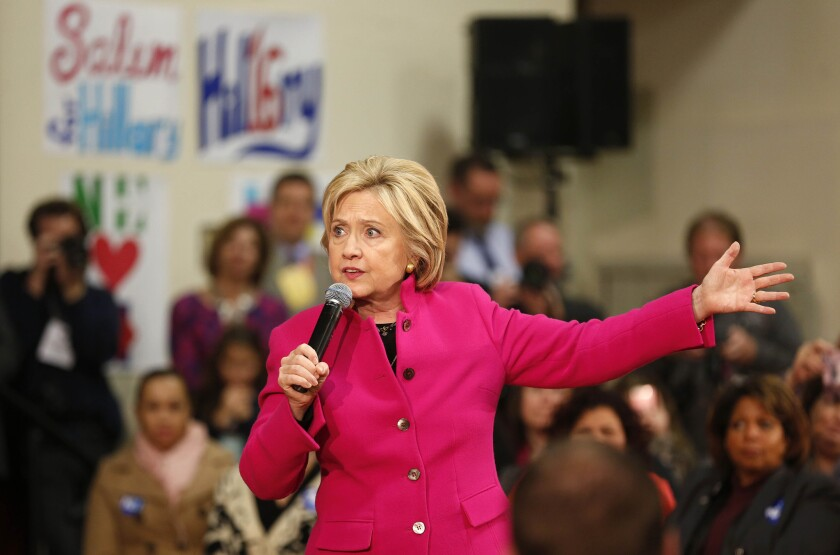 Democratic presidential candidate Hillary Clinton speaks during a campaign stop Wednesday in Salem, N.H. Clinton and other Democratic hopefuls have stepped up their emphasis on gun control.