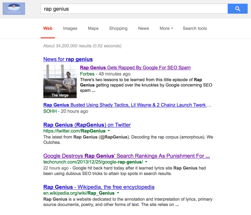 Google no longer links to Rap Genius in its search results after the music lyrics website was found to be employing questionable search engine optimization tactics.