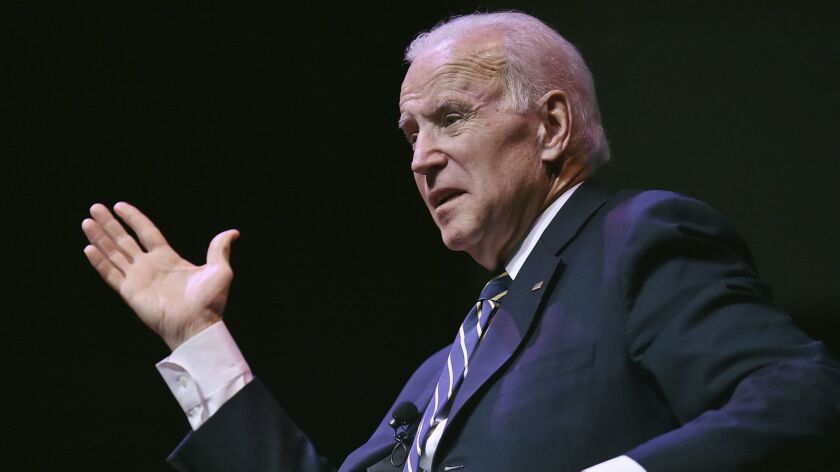 Former U.S. Vice President Joe Biden addresses the crowd at Southern Connecticut State University in New Haven.