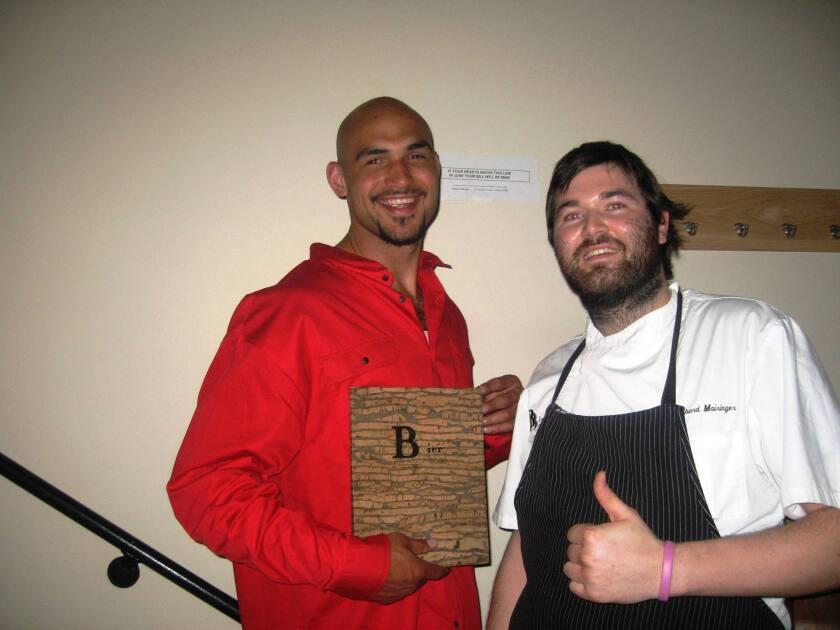 Robert Sacre is tall, gets free dinner at BierBeisl restaurant