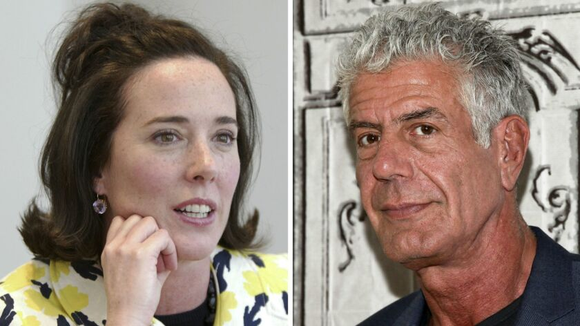 Kate Spade, left, in 2004, and Anthony Bourdain in 2016.