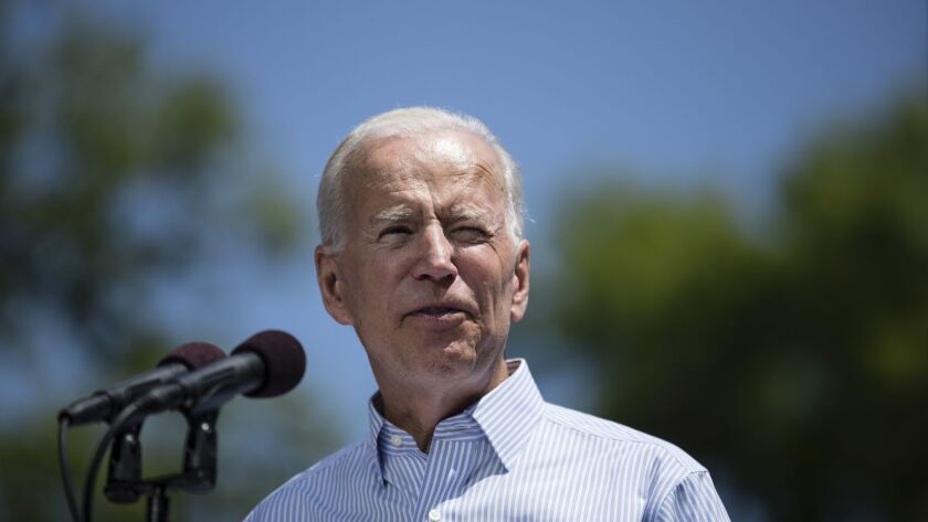 Joe Biden, shown at a Philadelphia rally on May 18, wants to add $30 billion to an existing federal program geared to low-income schools.