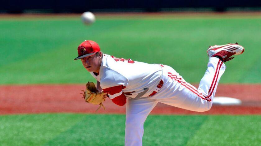 FILE - In this June 11, 2016, file photo, Louisville pitcher Brendan McKay throws against UC Santa B