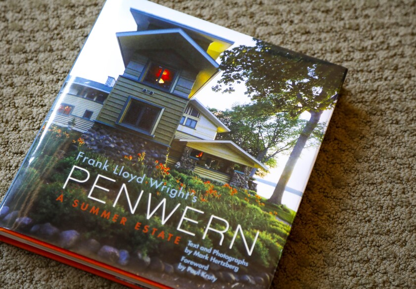 """Headlin""""Frank Lloyd Wright's Penwern: A Summer Estate,"""" the book, Sue and John Major, along John K. Notz Jr., commissioned about the lakefront home the Majors bought 25 yeras ago in Wisconsin.e"""