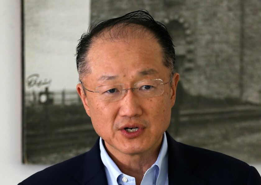 World Bank Group President Jim Yong Kim speaks at social center for Syrian refugees, in Tripoli, Lebanon, Friday, March 25, 2016. Kim said hundreds of millions of dollars in assistance money for cash-strapped Lebanon is being held up because of the country's nearly two-year-old political stalemate. In an interview later Friday with The Associated Press in Beirut, Kim implored the country's politicians to end the impasse and vote for a president who can enact laws. (AP Photo/Hussein Malla)