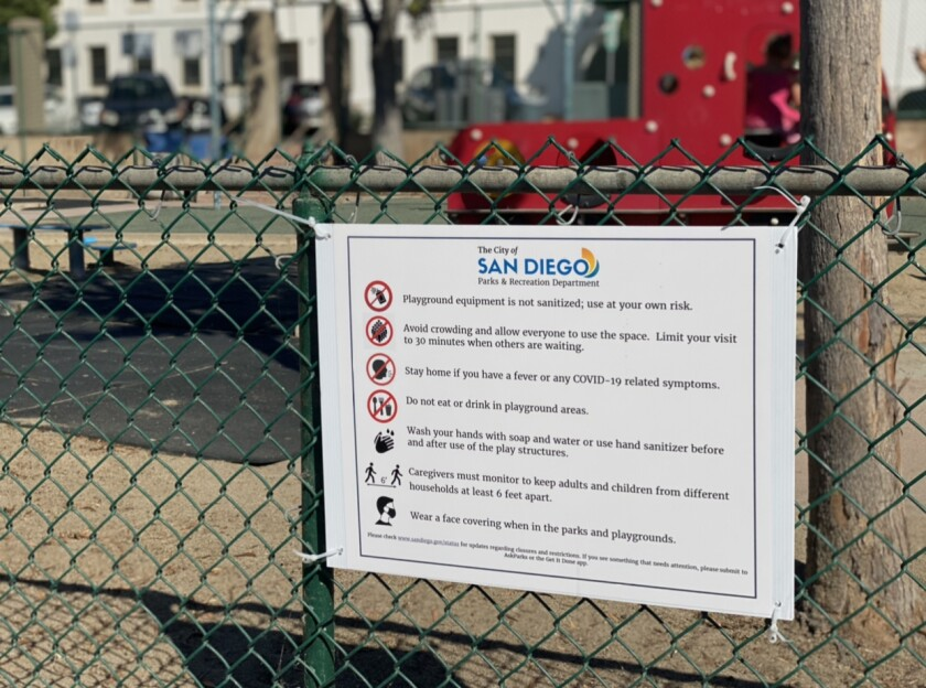 Signs at the La Jolla Recreation Center spell out guidelines for playground use.