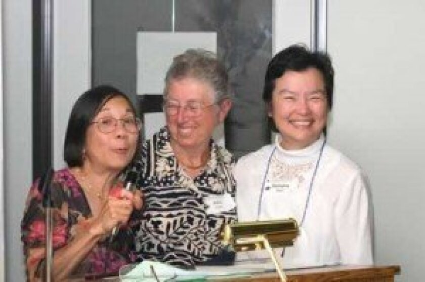 International Center volunteers and La Jolla residents Liz Fong Wills and Georgina Sham, and Alma Coles of University City will help host the upcoming dinners. Courtesy