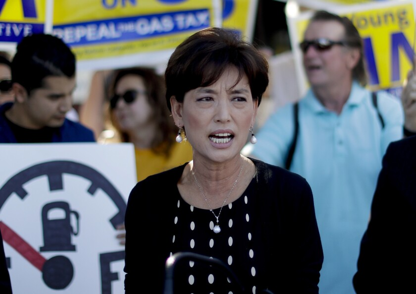 Young Kim speaks at a rally