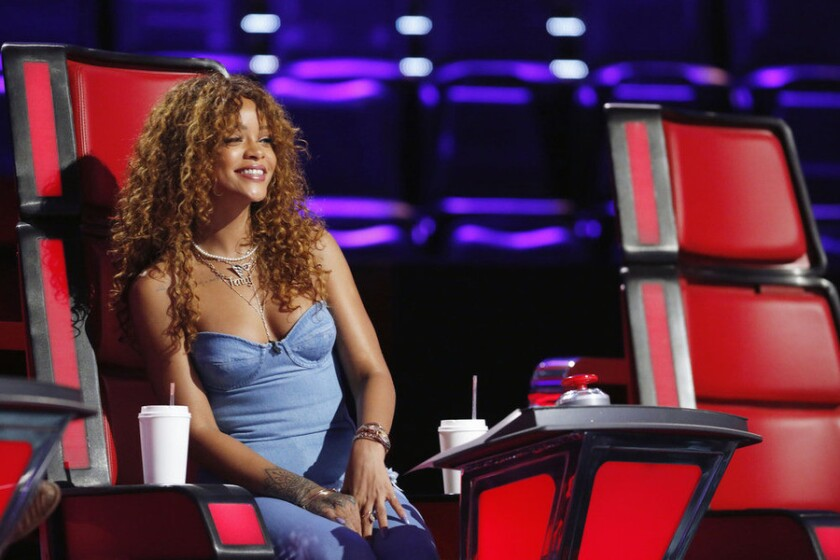 "Rihanna helps out as a ""key advisor"" to the coaches and contestants on ""The Voice."""