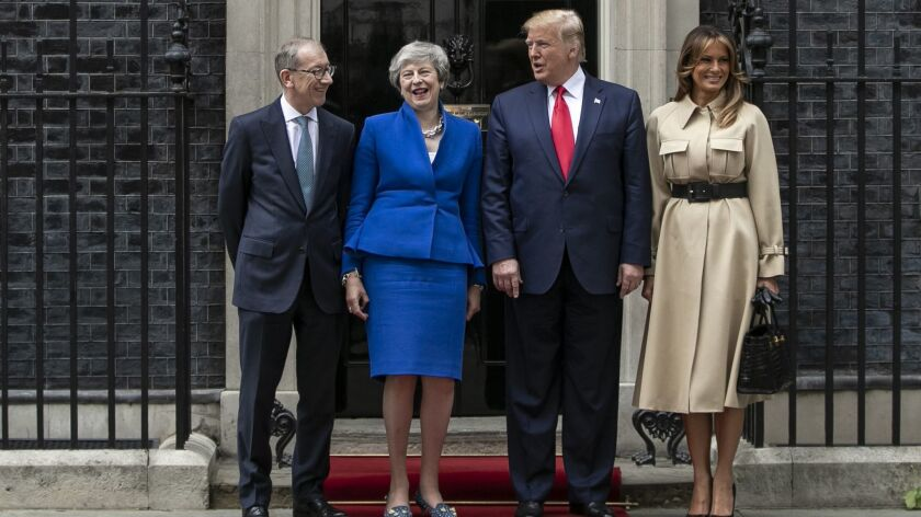 Philip May, left, British Prime Minister Theresa May, President Trump and First Lady Melania Trump at 10 Downing St. on June 4.
