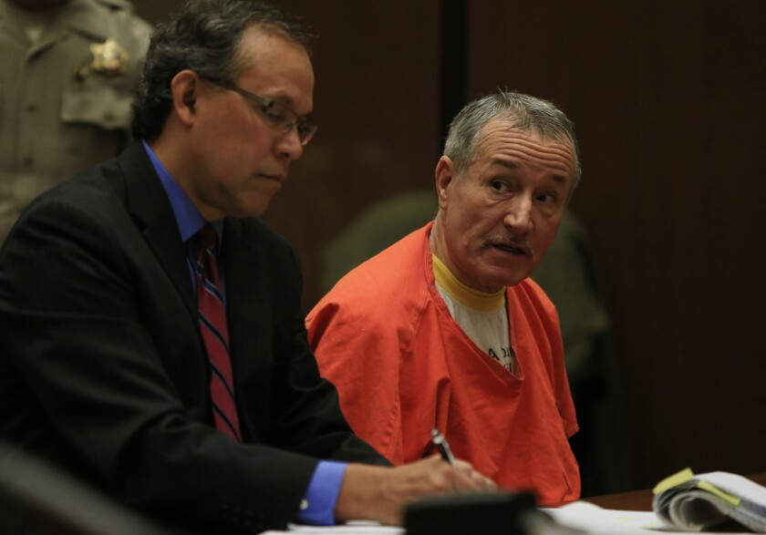 Former Miramonte Elementary School teacher Mark Berndt sits with his attorney, Manny Medrano, in Los Angeles County Superior Court, where he was sentenced to 25 years in prison after pleading no contest to 23 counts of lewd conduct with students at his school.