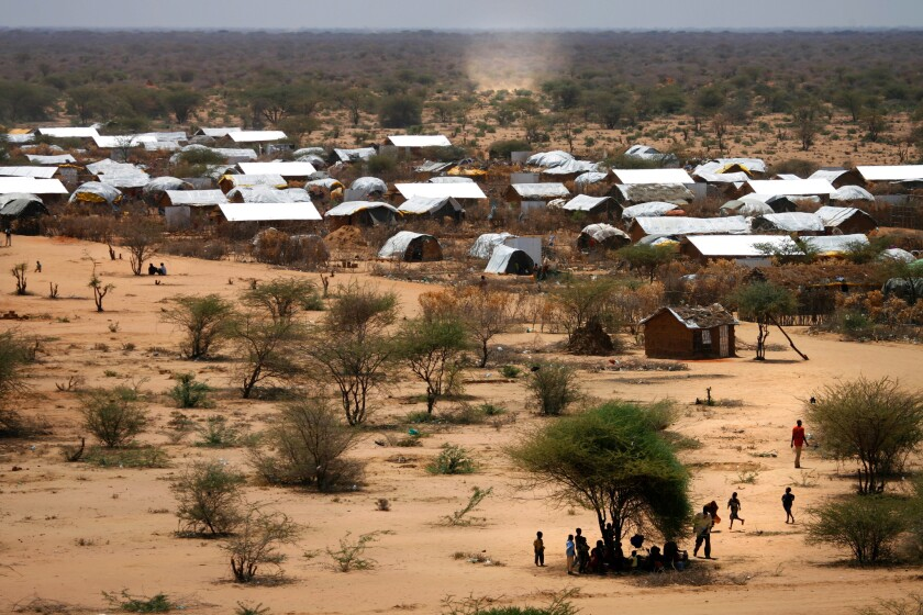Makeshift homes for refugees irrationally occupy the harsh landscape at the Dadaab refugee camp in Kenya's North Eastern province.