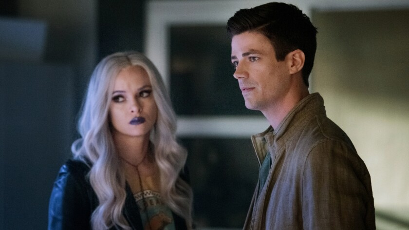 "Danielle Panabaker and Grant Gustin in ""The Flash"" on The CW."