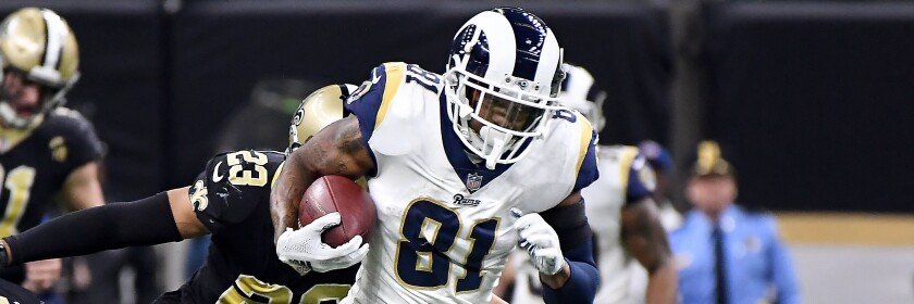 Rams tight end Gerald Everett finds some running room against the New Orleans Saints.