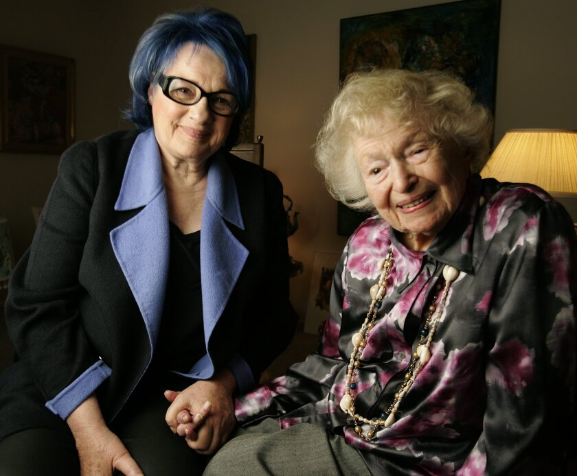 """Filmmaker Susan Polis Schutz (left) sits with 105-year-old Laura Simon, one of the subjects in Schutz's film """"Over 90 and Loving It."""" The documentary will have its premiere at the San Diego Jewish Film Festival. Howard Lipin • U-T"""