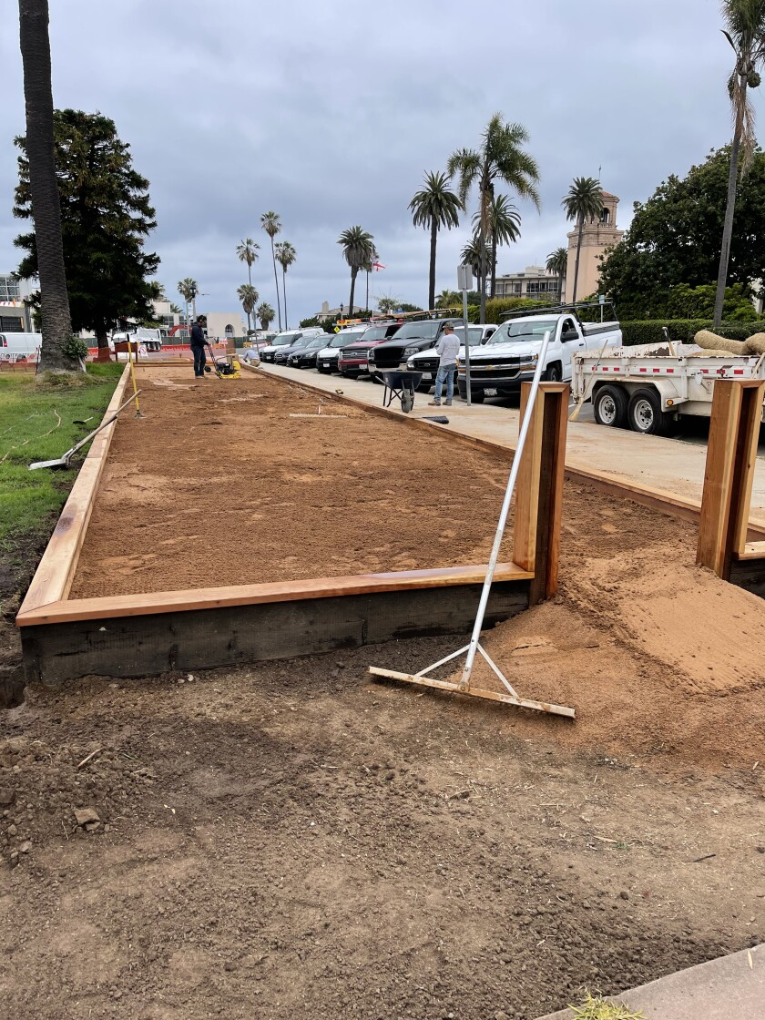 The La Jolla Recreation Center's new temporary bocce court is pictured under construction June 24.