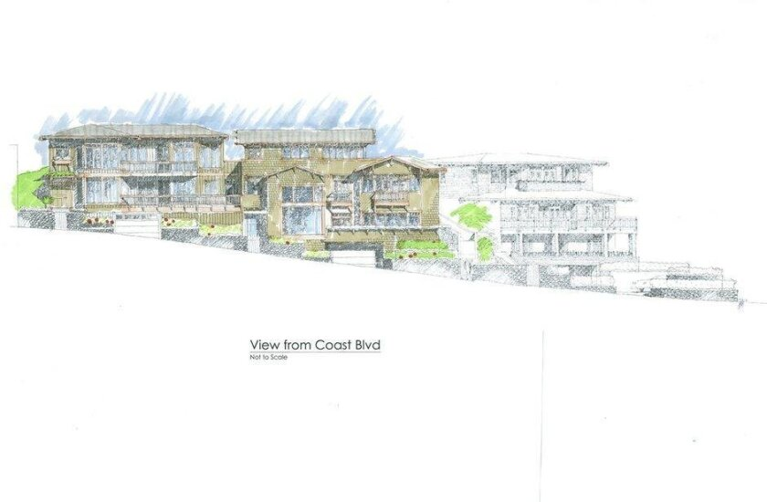 Rendering of town homes to be developed on Coast Boulevard, named the East-Cliff, Gables and Jack O'Lantern, in homage to three Green Dragon Colony cottages that once stood there.