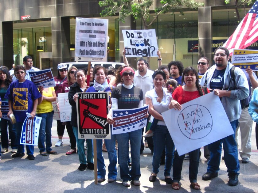 The San Diego Table on Immigration Policy held a rally outside the offices of Sen. Dianne Feinstein in downtown San Diego to press for comprehensive immigration reform.
