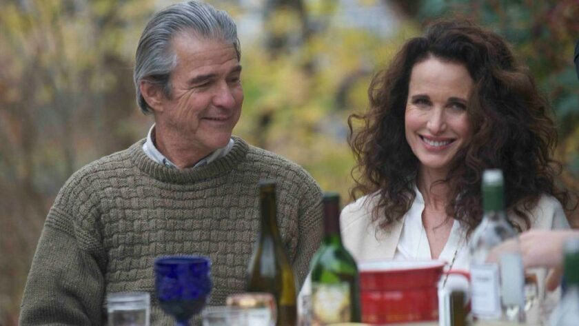 """Gareth Williams as Glenn and Andie MacDowell as Suzanne in Russ Harbaugh's """"Love After Love"""""""