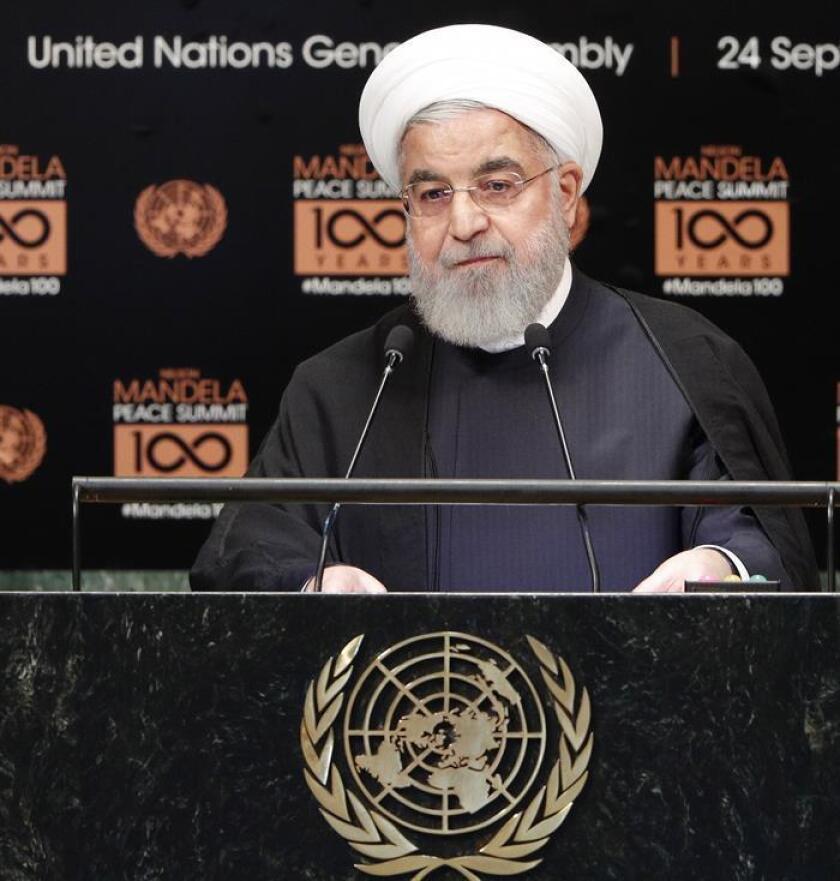 El presidente iraní, Hasan Rohaní, interviene durante la cumbre de Naciones Unidas sobre la paz, dedicada a la memoria del expresidente sudafricano Nelson Mandela, durante la Asamblea General de Naciones Unidas celebrada en Nueva York, EE.UU., el 24 de septiembre del 2018. EFE