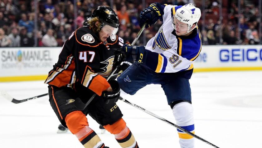 Ducks defenseman Hampus Lindholm blocks a shot by Blues right wing Vladimir Tarasenko during the second period Friday night.