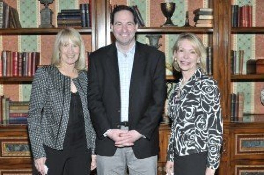Rancho Santa Fe Literary Society Chapter President Candace Humber, author William Landay, Chapter Leader Gayle Allen of Northern Trust. Photo/McKenzie Images