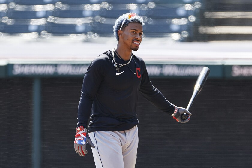 Cleveland Indians' Francisco Lindor walks off the field during baseball practice, Monday, July 6, 2020, in Cleveland. (AP Photo/Ron Schwane)