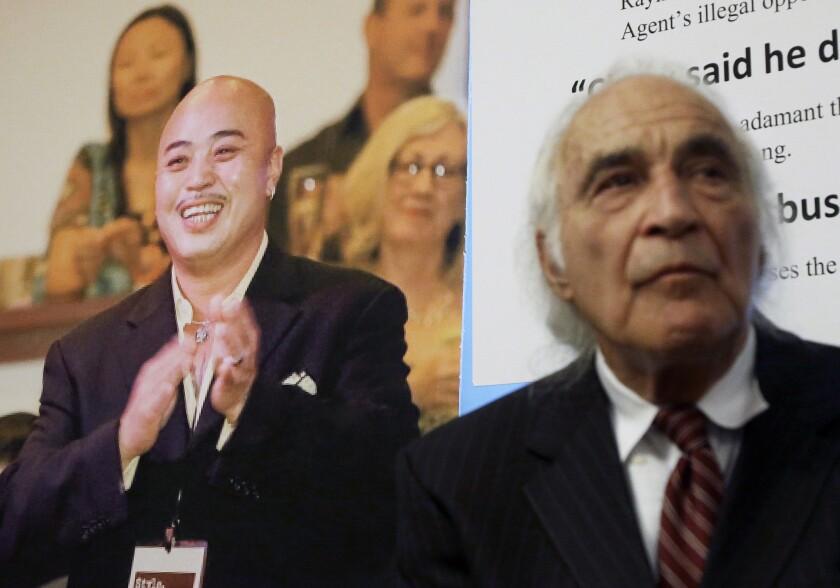 "J. Tony Serra, with image of Raymond ""Shrimp Boy"" Chow"