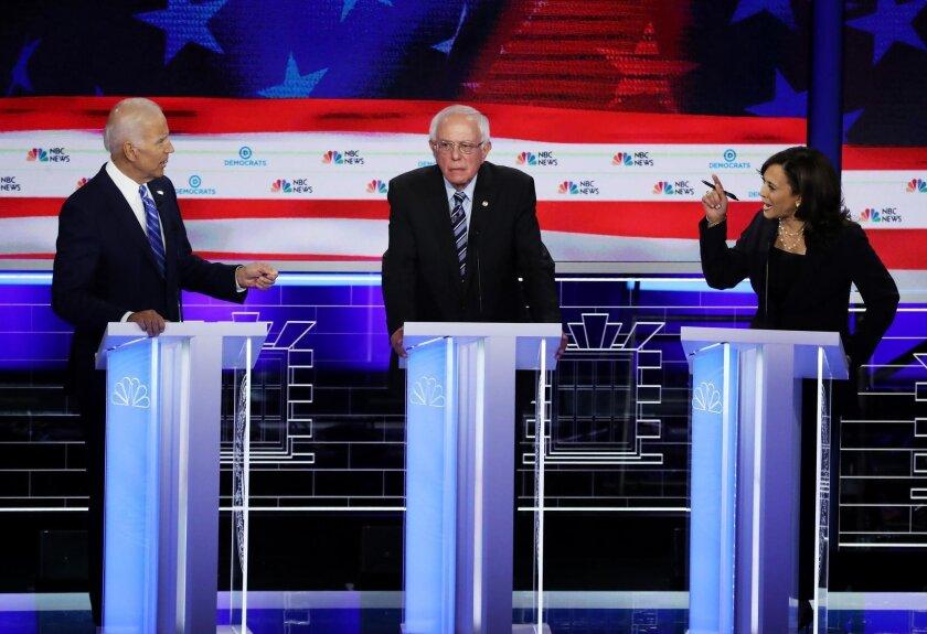 Joe Biden, Bernie Sanders and Kamala Harris at Democratic presidential debate