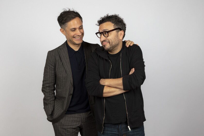 """Gael Garcia Bernal, left, and director Alonso Ruizpalacios from the film """"Museo,"""" photographed in the L.A. Times Photo and Video Studio at the 2018 Toronto International Film Festival."""