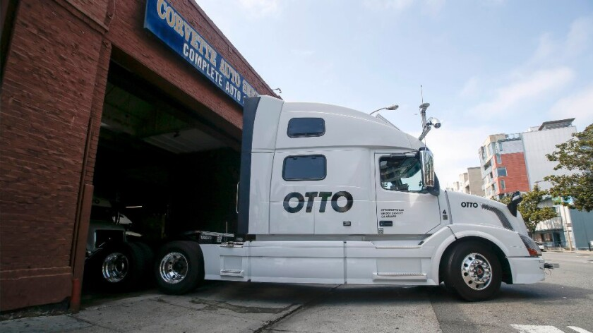An Otto self-driving truck leaves for a test drive in San Francisco in August.