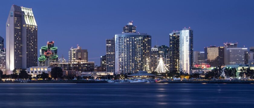 The San Diego waterfront at sunset.