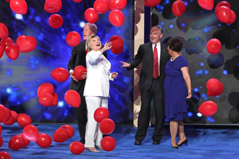 Hillary Clinton and her vice presidential pick Tim Kaine at the 2016 Democratic convention.