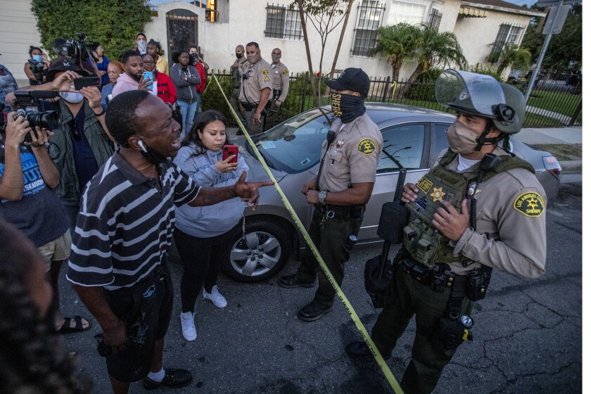 Residents face off with L.A. County sheriff's deputies hours after the killing of Dijon Kizzee in South L.A.
