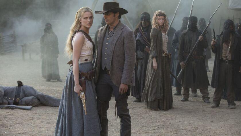 """Episode 13 (season 2, episode 3), debut 5/6/18: Evan Rachel Wood, James Marsden in """"Westworld."""" phot"""