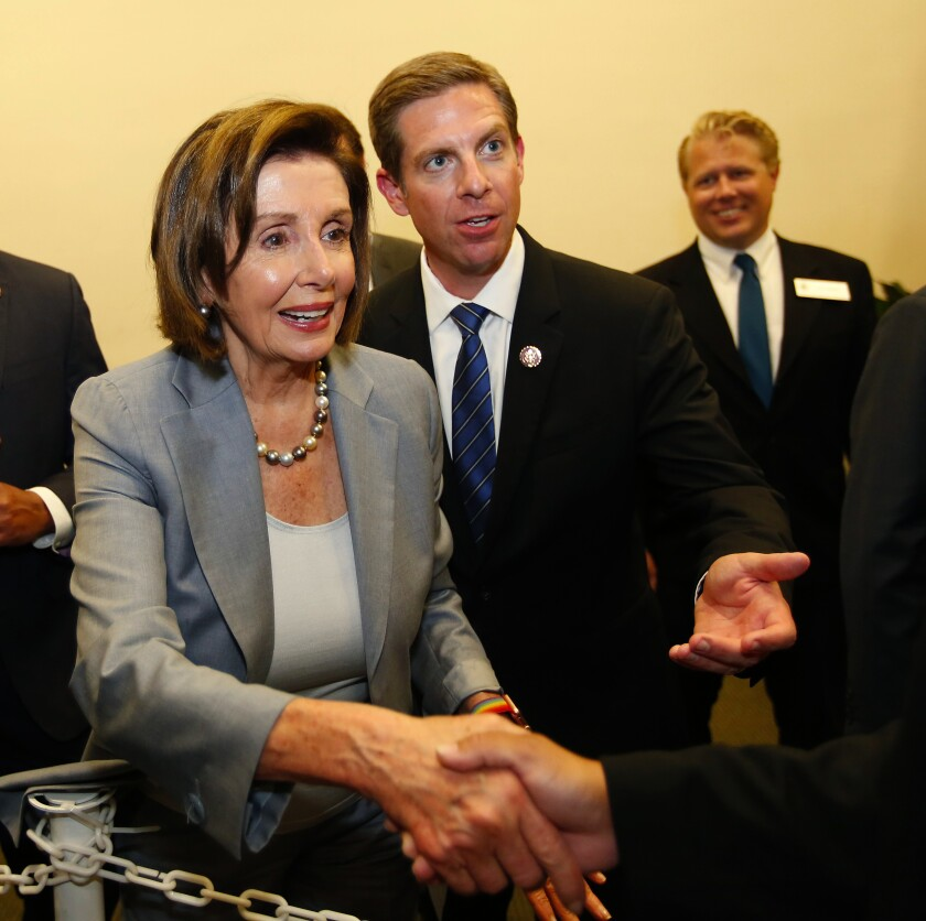 House Speaker Nancy Pelosi with Rep. Mike Levin at Monday's event in Oceanside.
