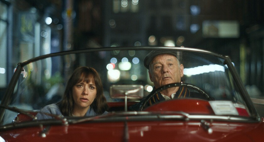 """Rashida Jones and Bill Murray are seen driving in a car in """"On the Rocks"""""""