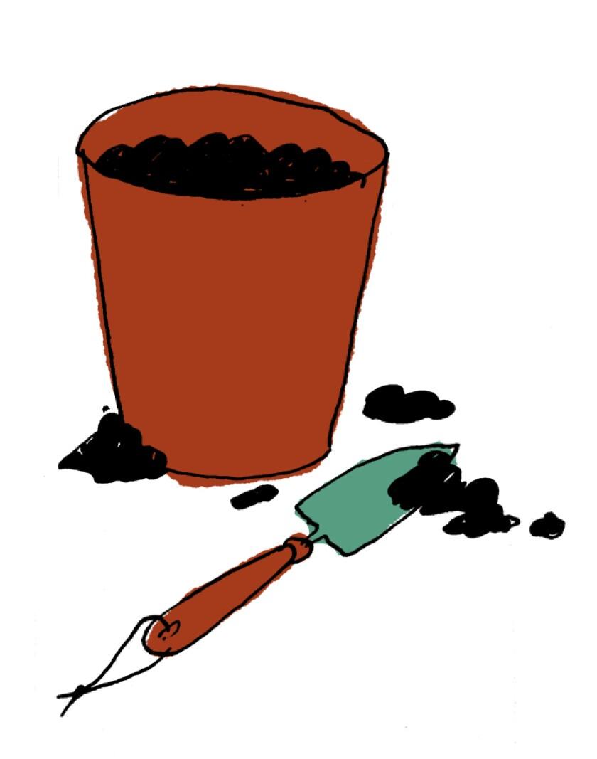 Illustration of pot and shovel