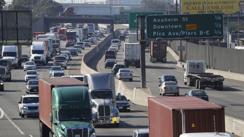 LONG BEACH, CALIF. -- WEDNESDAY, FEBRUARY 28, 2018: A view of traffic on the 710 Freeway as viewed f