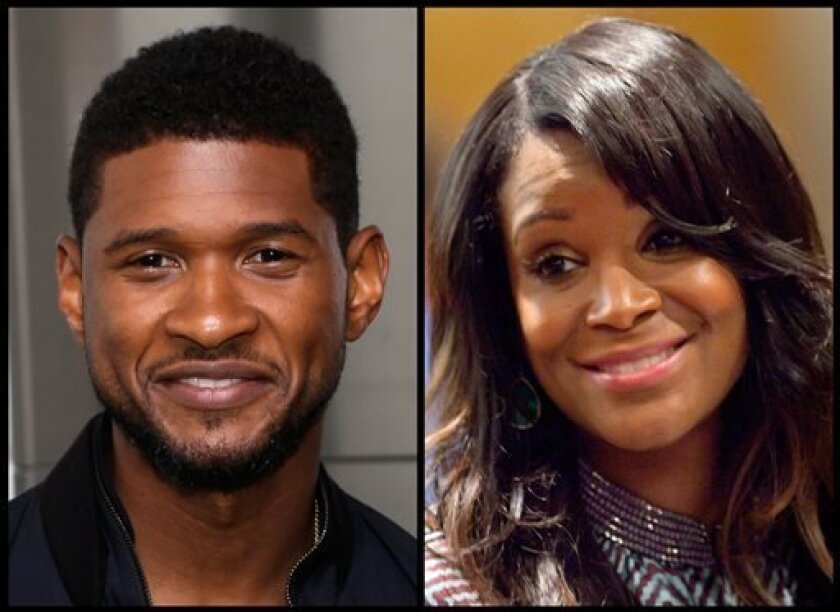 In this photo combo, R&B singer Usher, left, poses for a picture after a ceremonial lighting of the Empire State Building in New York, Wednesday, July 3, 2013; and at right, Usher's ex-wife Tameka Foster Raymond looks on during a recess in court for a custody fight involving their two sons Tuesday, May 22, 2012, in Atlanta. A judge in Atlanta is set to hear about a child custody battle between Usher and Raymond. Fulton County Superior Court Judge John Goger set the hearing for Friday, Aug. 9, 20