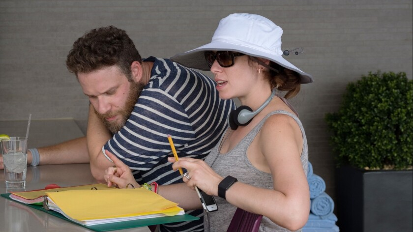 """Spouses Seth Rogen and Lauren Miller Rogen on the set of """"Like Father."""" Lauren wrote and directed the film in which Seth has a small role."""