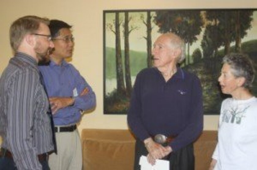 Lars Almquist and Sheldon Zhang chat with San Diego Independent Scholars President Sam Gusmann and Program Chair Gerry Horwitz. Ashley Mackin